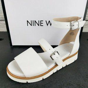 NEW Nine West Platform Leather Flat Sandal White